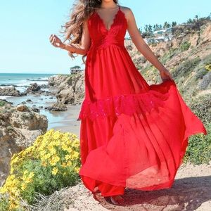 Red maxi dress with plunging neckline